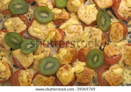 meat baked with cheese - stock photo