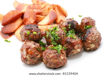 Meat Balls with Wedges or Chips