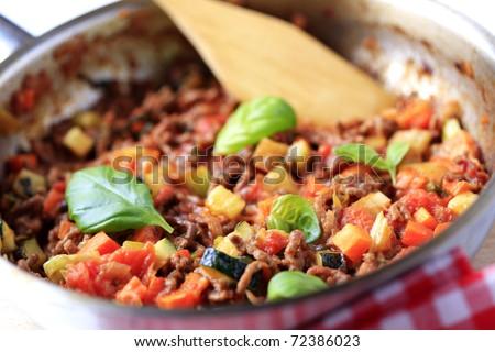 Meat-based pasta sauce - stock photo