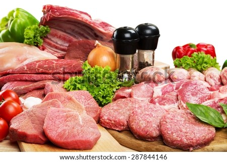 Meat, Butcher's Shop, Raw. - stock photo