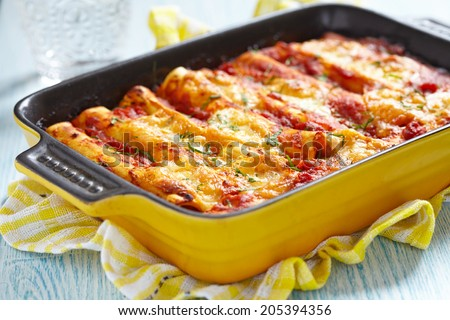 Meat cannelloni with tomato sauce and cheese - stock photo