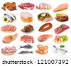 meat collection on a white background - stock photo