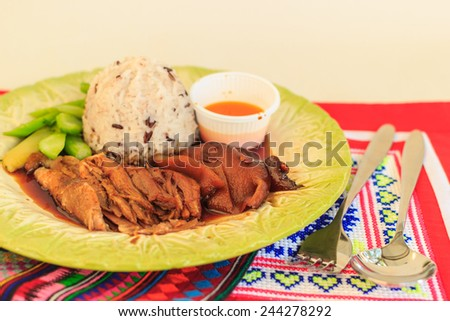 Meat curry with rice, selective focus. - stock photo