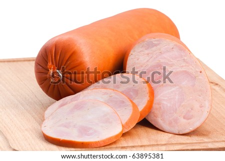 meat delicatessen on the board isolated on the white - stock photo