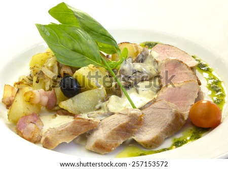 meat dish of beef on a white background - stock photo