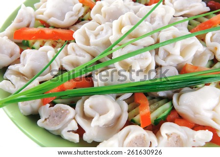 meat dumplings served on green plate with chives - stock photo