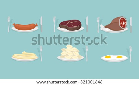 Meat food: Sausage and dumplings. Ham and steak. Scrambled eggs and pasta.  Food on  plate. Cutlery: knife and fork. Food for dinner, breakfast and lunch.    - stock photo