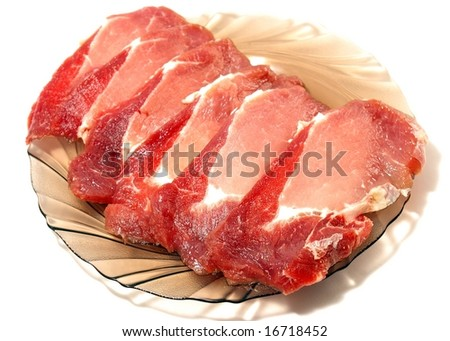 Meat for cutting.Piece of the pork for cutting on plate