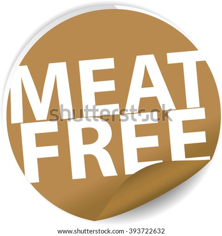 Meat free brown Label, Sign, stickers and symbol. - stock photo