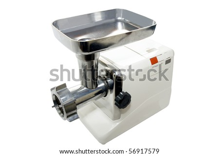 meat grinder on a white background - stock photo
