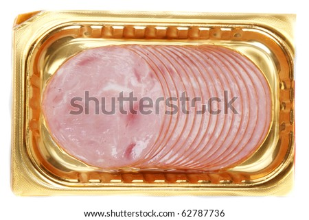 Meat in golden packing on white background - stock photo