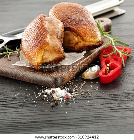 meat of duck and silver fork  - stock photo