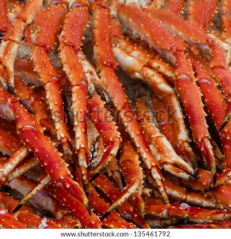 Meat of king crabs in Bergen fish market, Norway