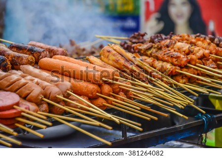 Meat on a stick, Bangkok, Thailand