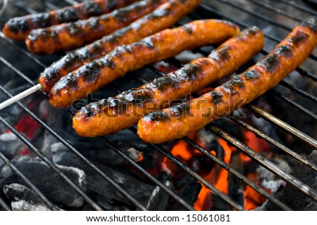 Meat on grill above campfire - Merguez sausages