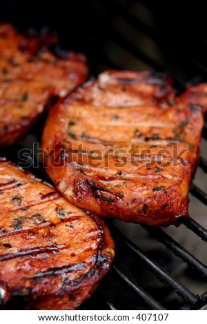 Meat on the barbecue with grillmarks - stock photo