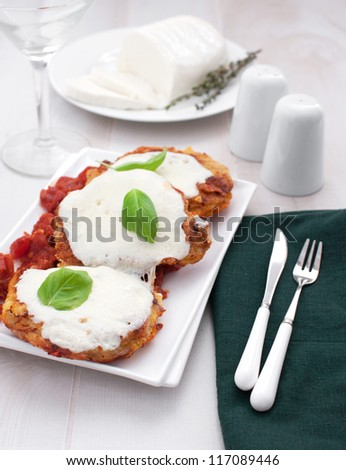 Meat parmigiana with mozzarella cheese vertical - stock photo