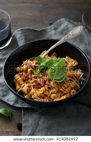 meat pasta with wine, food close-up - stock photo