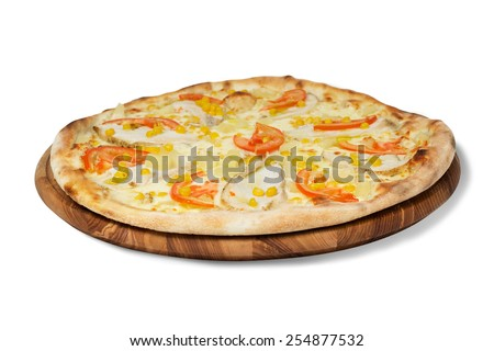 meat pizza with vegetables on a white background isolated   - stock photo