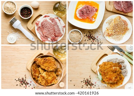 Meat pork chop in bread crumbs, recipe step by step. Instruction for cooking classical chops - stock photo