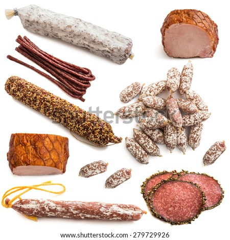 meat products isolated on white background - stock photo
