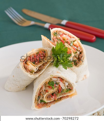 meat roll - stock photo