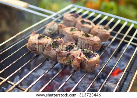 meat rolls grilled on skewers