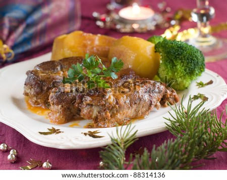 Meat rolls with potato and broccoli. Selective focus - stock photo