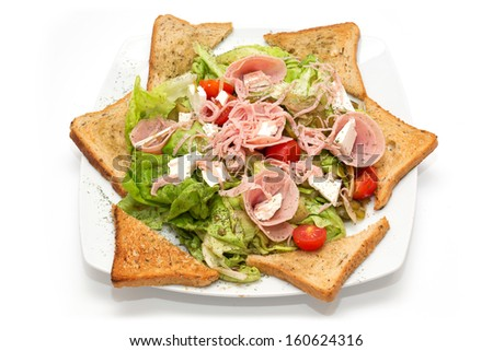 Meat salad on the plate