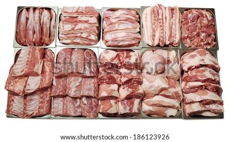 meat showcase - stock photo