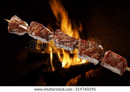 meat skewer - stock photo