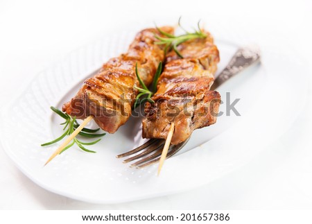 meat skewer, kebab