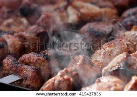 Meat skewers preparing on a barbecue grill, barbecue - stock photo