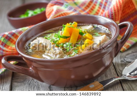Meat soup - stock photo