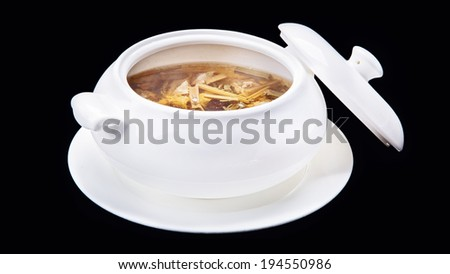 Meat stew,Chinese traditional cuisine isolated on black background - stock photo