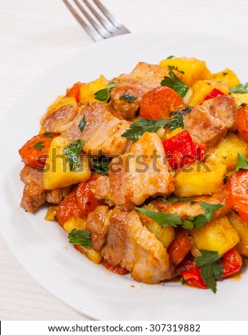 meat stew with potatoes and carrot - stock photo