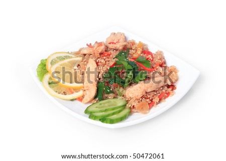 Meat with rice. East,Asian food. - stock photo