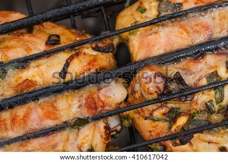 Meat with spices and green onions .meat of chicken on a grill. Chicken meat on fire .  food outdoors . smoking of meat .macro . food of the bachelor . it is tasty prepared - stock photo