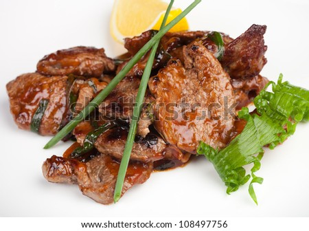 meat with vegetables, macro - stock photo