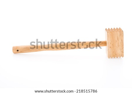 Meat wood hammer isolated on white background