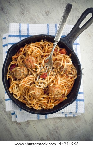 meatball spaghetti - stock photo