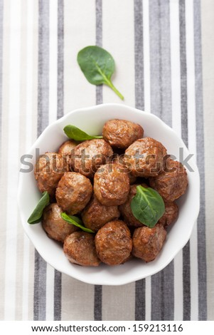 meatballs in bowl - stock photo
