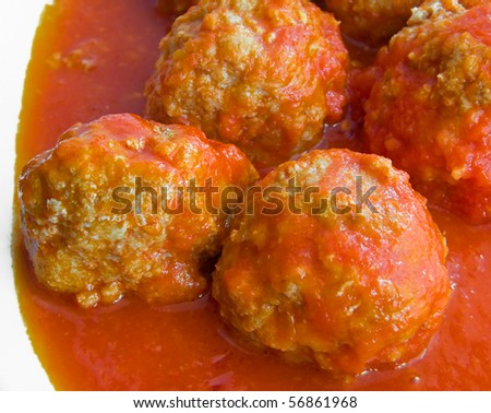 Meatballs in tomato sauce. - stock photo