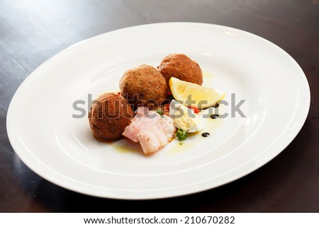 meatballs on the plate - stock photo
