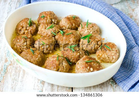 Meatballs with barley.Selective focus - stock photo
