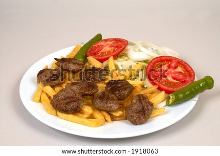 meatballs with french fries - stock photo