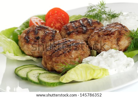 Meatballs with salad and herb quark - stock photo