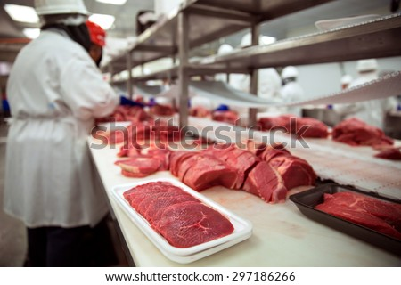 Meats of all types raw before it is packaged and shipped to stores and restaurant - stock photo