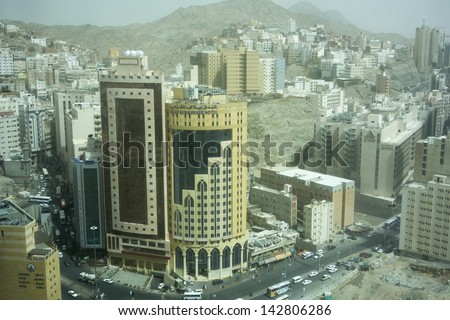 MECCA,S.ARABIA-JUN 8:Top view of Makkah area undergoing construction June 8, 2013 in Makkah.The expansion of surrounding area scheduled to complete in 2 years to accommodate more pilgrims during haj - stock photo