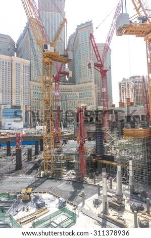 MECCA, SAUDI ARABIA - MARCH 10, 2015 : Expansion of Masjidil Haram under construction - stock photo